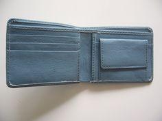 Men Blue Wallet Genuine Leather Hand Made Bi Fold Card Holder Coin Pocket Wallet #Handmade #Bifold