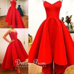 Sweetheart High Low Red Strapless Prom Dress ,Graduation Dresses
