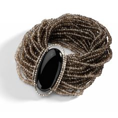 Brumani Bracelet in white gold with diamonds, black crystal and strands of smokey quartz. Nude Casual collection
