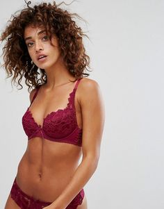 4dc2e9236bb45 Lepel Fiore Padded Plunge Berry Bra A-G Cup - Purple Asos