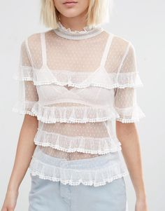 Image 3 of ASOS Top In Dobby Mesh With Ruffle Detail