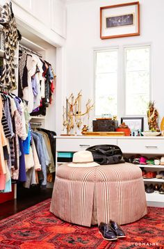 Exclusive: Tour Actress Constance Zimmer's Soulful Family Home Dressing Room Closet, Wardrobe Closet, Dressing Rooms, Closet Space, Dressing Table, Home Office, Closet Vanity, Dream Closets, Classy Closets