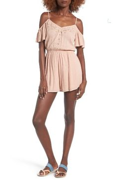 Free shipping and returns on Lush Embroidered Cold Shoulder Romper at Nordstrom.com. Tonal embroidery adds delicate embellishment to the neckline of this beautifully draped, lightweight romper that's perfect for sunny summer days.
