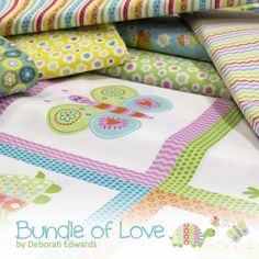 Bundle of Love (March 2016) Available in 2 colorways: Modern Baby and Aqua Baby A portion of the sales from Bundle of Love will be donated to Quilts for Kids. To learn more about Quilts for Kids, please visit their website at www.quiltsforkids.org