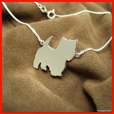 #West Highland White #Terrier #Halskette in #925er #Silber #Hund