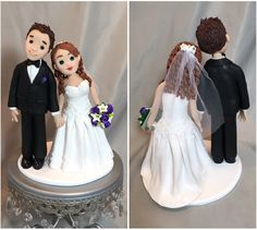 Custom bride and groom wedding cake topper sculpted from polymer clay.