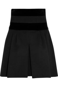 Alexander McQueen Velvet-paneled stretch-wool mini skirt NET-A-PORTER.COM