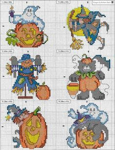 Zucche 3; Small Halloween motifs; quick to stitch; friendly ghosts, jack-o-lanterns, black cats, scarecrows, very cute.