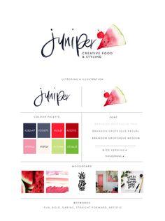 Juniper | Watercolor Watermelon Logo | Susan Brand Design