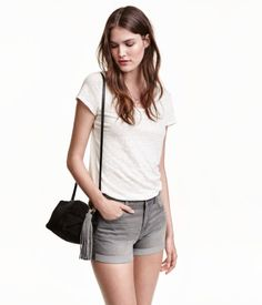 Grey. 5-pocket low-rise shorts in washed stretch denim with sewn-in turn-ups at the hems.