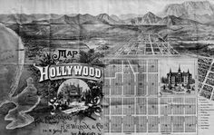 Drawing of the first map of Hollywood, issued by real estate agent H.H. Wilcox in 1887