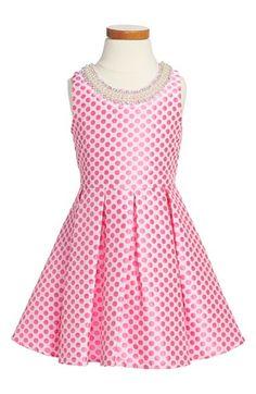 Le Pink 'Hampton' Dot Print Sleeveless Dress (Toddler Girls, Little Girls & Big Girls) available at #Nordstrom