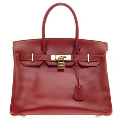 Pre-Owned Hermes Birkin Rouge Vif Veau Grain Lisse with Gold Hardware... ($8,135) ❤ liked on Polyvore featuring bags, handbags, red, leather handbags, hermes handbags, studded handbags, red purse and polka dot purse