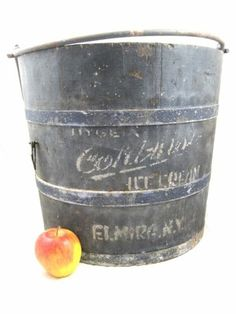 Antique Elmira New York Ice Cream Bucket Orig Blue Paint AAFA Folk Art Primitive | eBay