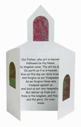 "Kids can look at the Lord's Prayer every day with this craft. Great for helping with verse memorization! Includes precut church cards, stained glass paper, preprinted prayer sheets and glue. Card is 5 1/2"" x 9"" when closed."