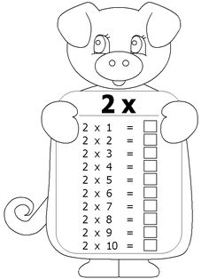 Free Grade One math printable activity worksheet. Maths Times Tables, Times Tables Worksheets, Kindergarten Math Worksheets, Math Classroom, Classroom Activities, Preschool Activities, Free Kids Coloring Pages, School Coloring Pages, Multiplication