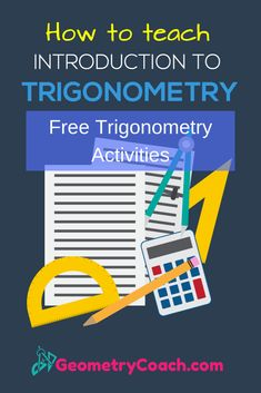 Free Trigonometry Activities - High School Math - First day of school - Introduction to Trigonometry - Where to Start! For the best introduction to trigonometry you want to start by WOWING your class. Geometry Lessons, Geometry Activities, Geometry Vocabulary, Math Lesson Plans, Math Lessons, Trigonometry Worksheets, Free Worksheets, Teaching Math, Math Teacher