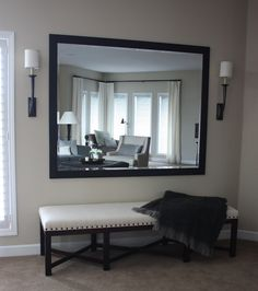 Mirror with bench underneath. I want to for an entry way What a great way to make a room look even bigger
