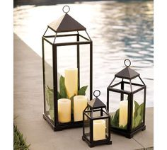 Pottery Barn lanterns for outdoor candles