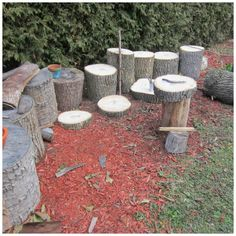 let the children play: Simple Play Space Transformations: #1 Tree Stumps. Tree stumps and tree rounds should be in every playspace; they are incredibly versatile and make great loose parts for creative play. Pinned by Alec of http://childsplaymusic.com.au/