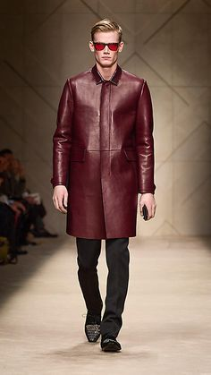 Contrast Bonded Leather Caban, Burberry.