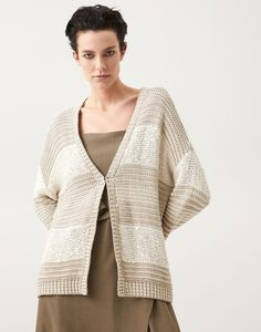 Striped cardigan (211MBA380626) for Woman | Brunello Cucinelli Striped Cardigan, Casual Elegance, Brunello Cucinelli, Needle And Thread, Online Boutiques, Cardigans For Women, Knitwear, Ready To Wear, Cashmere