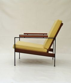 Enameled Metal and Teak Lounge Chair for Gelderland, circa Vintage Furniture, Modern Furniture, Furniture Design, Interior Styling, Interior Design, Couch Furniture, Take A Seat, Modern Chairs, Outdoor Chairs