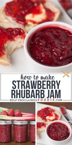 Make homemade Strawberry Rhubarb Jam from fresh rhubarb, strawberries, sugar and lemon without pecti Strawberry Rhubarb Recipes, Rhubarb Desserts, Rhubarb Canning Recipes, Recipes For Strawberries, Rhubarb Jam Recipes Easy, Strawberry Jam Recipe Without Pectin, Rhubarb Freezer Jam, Rhubarb Preserves, Strawberry Rhubarb Compote