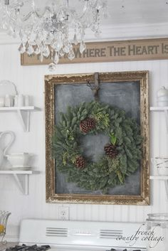 Decor Inspiration - chalkboard in antique frame accented by wreath - FRENCH COUNTRY COTTAGE: Christmas in the little cottage