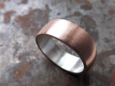 Custom Made Domed Copper Wedding Band With Silver Liner, Bold Mens Ring Personalized