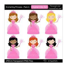 cute princess clip art clipart digital fairy tale pink - Enchanting Princess - Pack A - Digital Clip Art - Personal Commercial Use