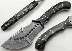 "9.75"" Custom Manufactured Beautiful Damascus Steel Tracker Knife"