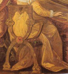 """Detail of X or savannarola chair from the """"Concerti in the garden """" fresco by Ludovico Pozzoserrato in the Museo Civico Triviso"""