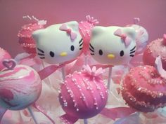 Hello Kitty pink and white cake pops