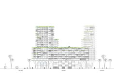 Image 8 of 10 from gallery of Hamonic+Masson & Associés Envisions a New Casablanca When Redesigning its Financial District. Photograph by Hamonic + Masson Residential Complex, Casablanca, Floor Plans, Diagram, Paris, Architecture, Gallery, Concept, Design