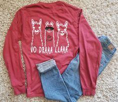 Llama shirt No Drama Llama short or long pocket comfort color shirts I love Llamas Llama gifts Llama clothing Llama BE Cool Llama apparel#ad