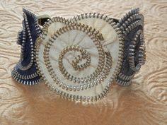 Zipper Flower Bracelet Cuff by hopeandgracedesign on Etsy, $19.50