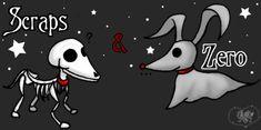 Scraps and Zero- Tim Burton pups