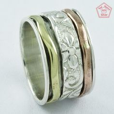 FLOWER EMBOSS NEW LOOK 925 STERLING SILVER SPINNER RING,R5017 #SilvexImagesIndiaPvtLtd #Spinner #AllOccasions