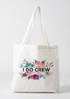 Sturdy, strong and BEAUTIFUL. Perfect gift for bridesmaids to fill with fun stuff for your bachelorette party like t-shirts, and cute little gifts, for a hostess or any special occasion! Image is printed on one side only. I can customize with a name(s) or word like Maid of Honor, Mother of Bride, etc, or as shown with I DO CREW, just leave a note at checkout, if nothing is specified I will send the I DO CREW * * * We have two sizes available. Please see pictures, and measurement details ...