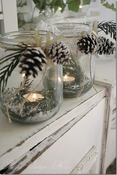 Jars, tea lights, and winter greenery. Three good things!