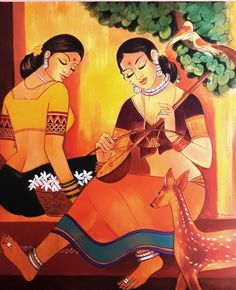 Indian Art Paintings, Indian Women Painting, Indian Folk Art, Indian Artist, Indian Art Gallery, Composition Painting, Indian Contemporary Art, Lion King Art, Art Painting Gallery