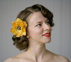 Golden Hair Flower by ChatterBlossom #vintage #hair #flower #yellow #gold