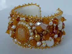 Beaded Cuff Bracelet Pearl Luciousness by GemRio on Etsy, $150.00