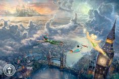 Thomas Kinkade Tinker Bell and Peter Pan Fly to Neverland art painting for sale; Shop your favorite Thomas Kinkade Tinker Bell and Peter Pan Fly to Neverland painting on canvas or frame at discount price. Images Disney, Art Disney, Film Disney, Disney Kunst, Disney Magic, Disney Movies, Disney Pixar, Disney Characters, Disney Artwork