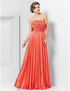 Sheath/Column Strapless Floor-length Chiffon Evening/Prom Dress