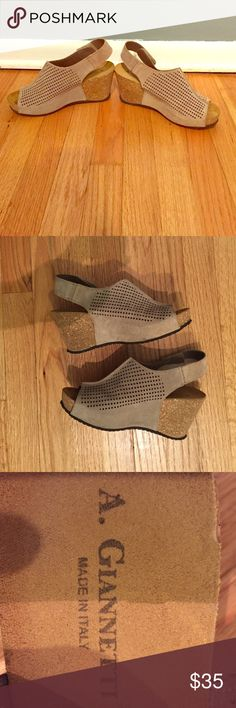 A Giannetti shoes Tan suede sandal with cork platform. Size 8.5. Made in Italy, worn once. Excellent condition. Heel is 3 inches. A Giannetti Shoes Sandals