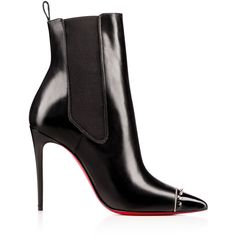 BANJO PATENT/SHINY CALF, BLACK/SILVER , Calf, Women Shoes, Louboutin. (3.605 BRL) ❤ liked on Polyvore featuring shoes, boots, black boots, silver boots, black bootie, pointed toe ankle boots and black patent boots