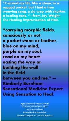 morphic fields are an idea from Rupert Sheldrake and Matrix Energetics. What you surround yourself with infleunces you. Consciously choose your friends, your poems, your thoughts. Celebrate April National Poetry Month