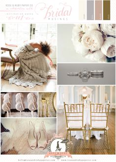 Dove Grey, Blush Pink & Gold Wedding Inspiration Board via Bridal Musings (Use Opal, Silver, Rose Quartz, and Antique Gold in C & P Colors)